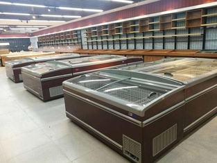 China 2.1M Long Meat / Fish Display Freezer , Supermarket Island Freezer Painted Material supplier