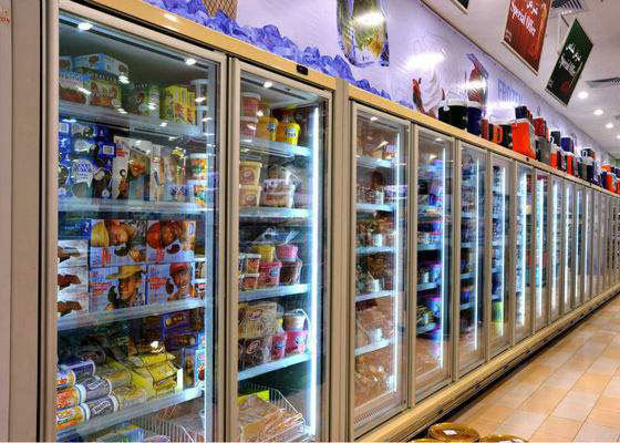China OEM Cold Storage Room Back Up Glass Door Display With Commercial Refrigerators supplier